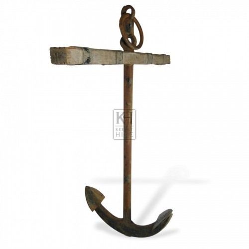 Large Iron Anchor with Wooden Stock