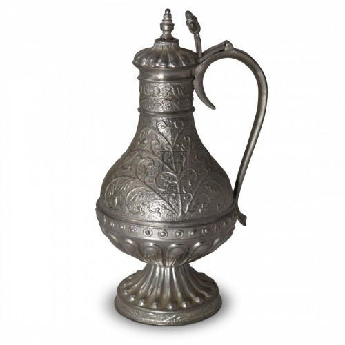 Ornate Pewter Flagon with Lid