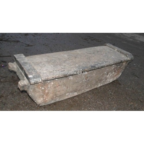 Rough wood low trough with lid