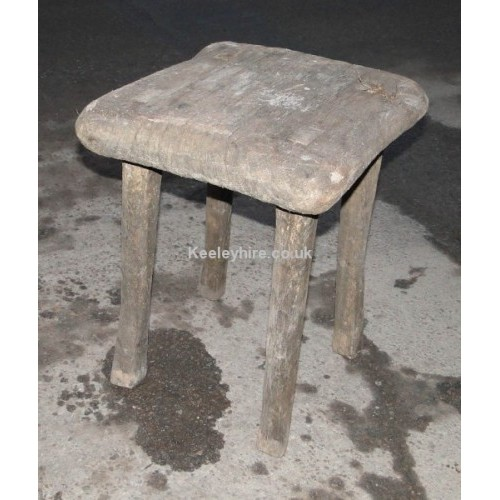 Square rough wood stool