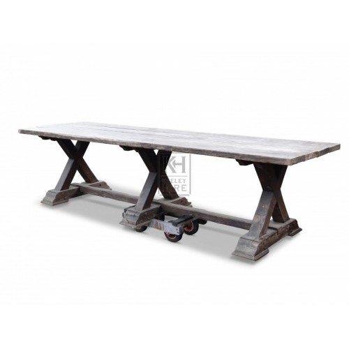 10ft X-frame wood table