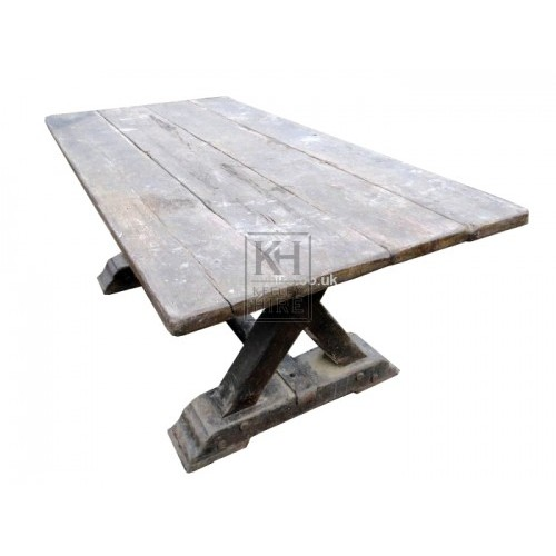 6ft X-Frame Wooden Table