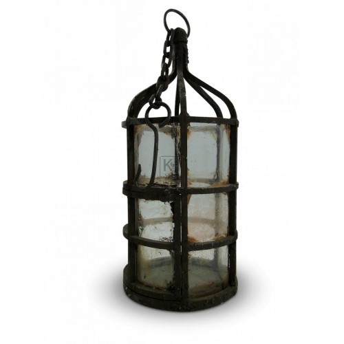 Large Iron Cage Lantern with Glass