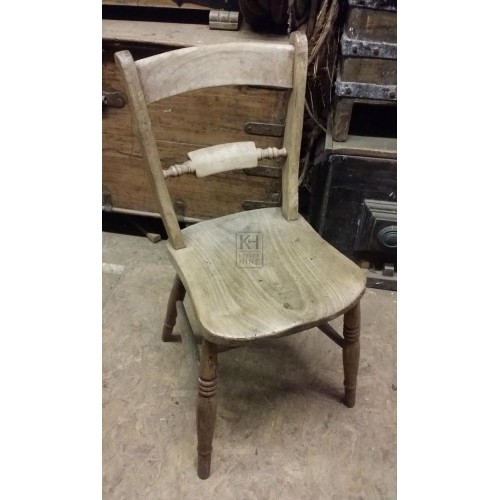 Plain wood light chair with bar back