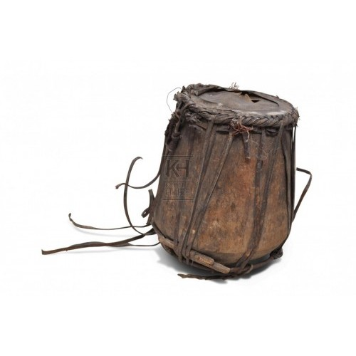 Leather drum with braided trim