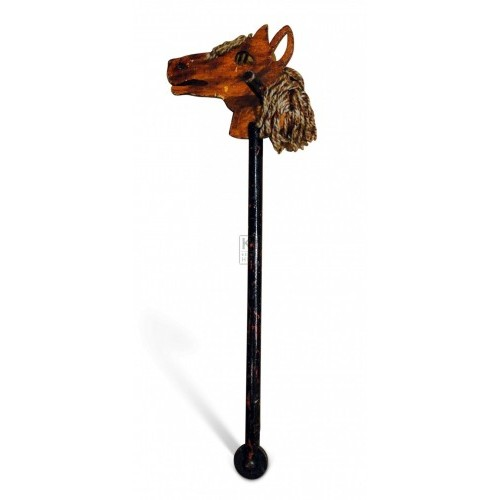 Dark wood hobby horse with string hair