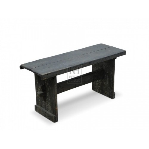 Dark wooden bench with support bar