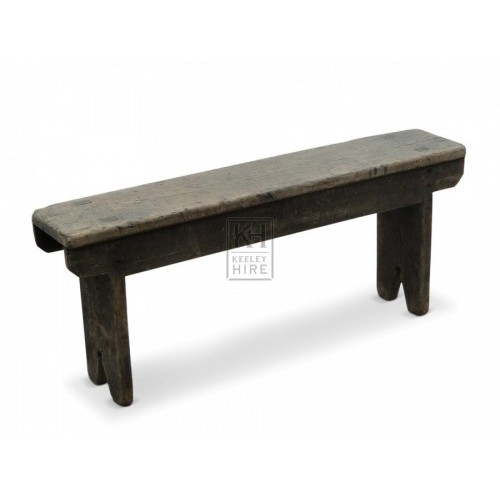 Wooden bench with peg leg detail