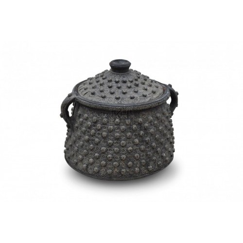 Bead embossed urn with handles