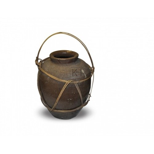 Dark Clay Pot With Reed-Wrap Handle