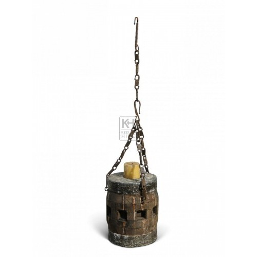 Hanging Wood Candleholder #4