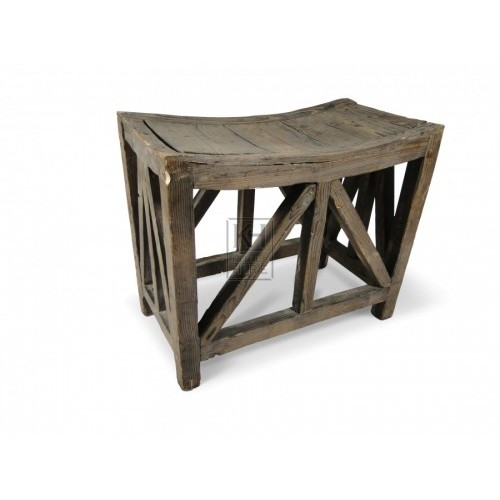 Wooden box frame stool with curved seat