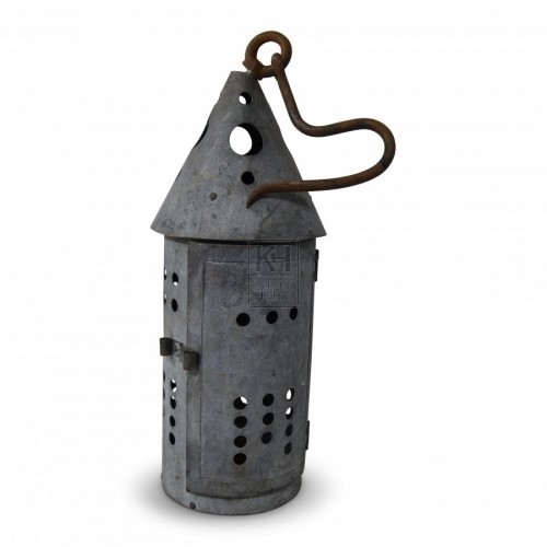 Round Perforated Lantern with Hook