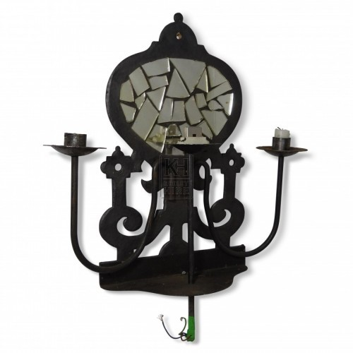 3 Point Wall Candleholder with Mirror