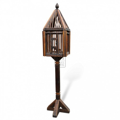 Freestanding Wooden Bird Cage