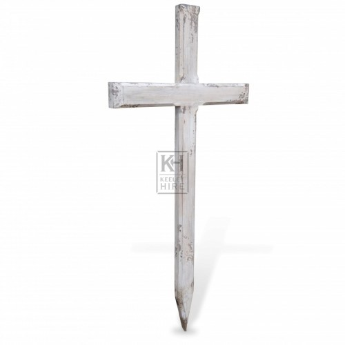 White Wooden Cross Gravemarker