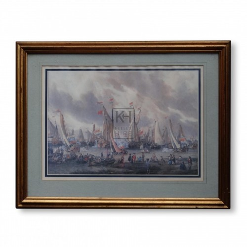 Painting of Sailing Ships Firing Cannons