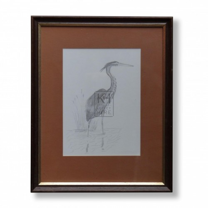 Framed Sketch of a Heron