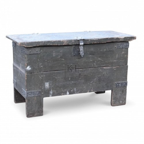 Large Flat Top Wood Coffer Chest