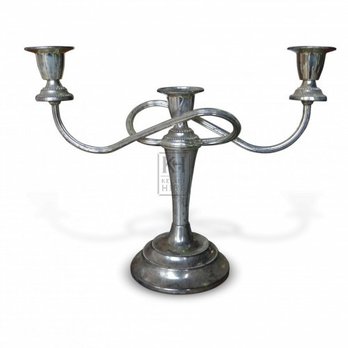 2 Arm Silver Table Candelabra