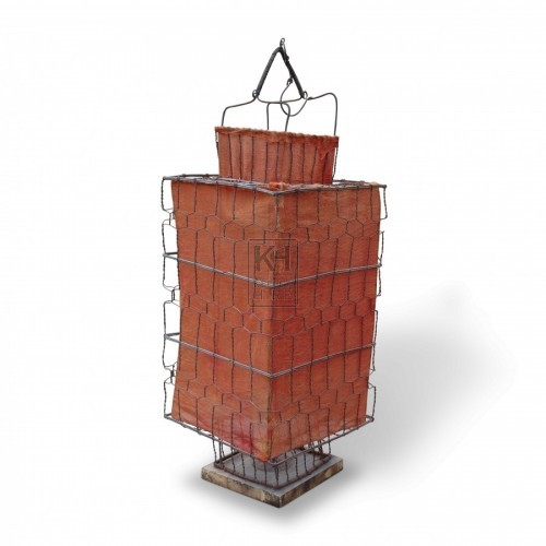 Wire Mesh and Orange Fabric Lantern
