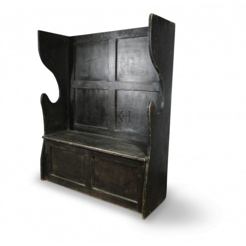 Dark Settle With Shaped Sides