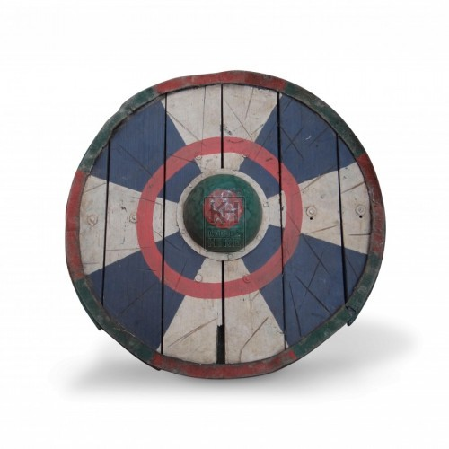 Painted Wooden Shield with Boss