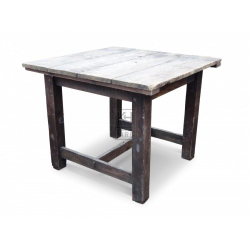 Square Wooden Table with Support Beam