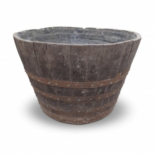 Large Banded Wooden Tub