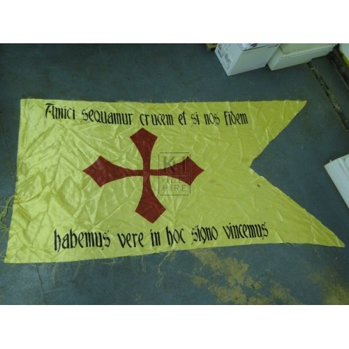 Yellow flag with Latin Text