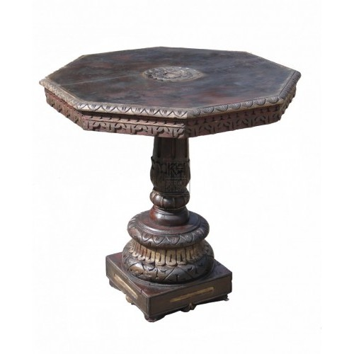 Dark Wood Octagonal Table