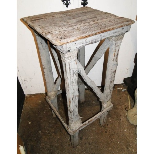 Tall square wood table