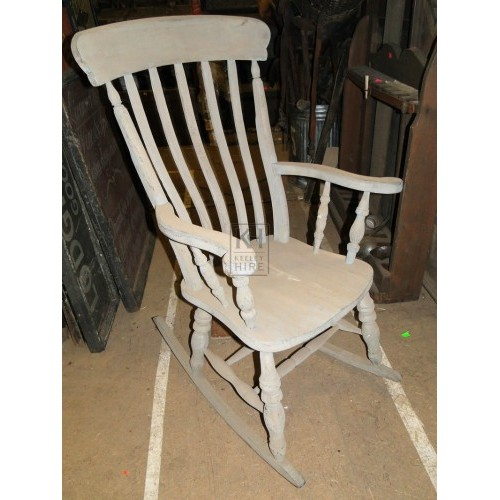 Grey wood rocking chair