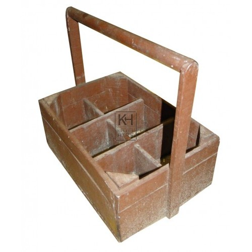 Wood bottle crate with handle
