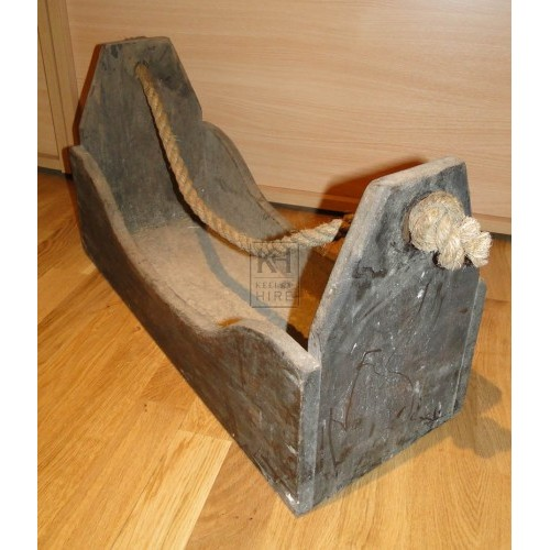 Large wood tool box with rope