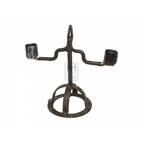 2 Arm Iron Candleholder with Grip