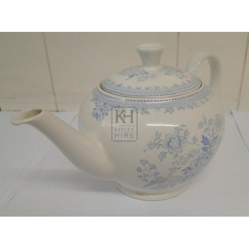 Large blue china teapot