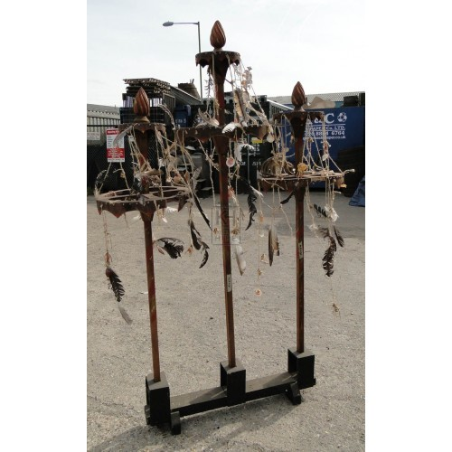 Triple wood stand with bones & feathers
