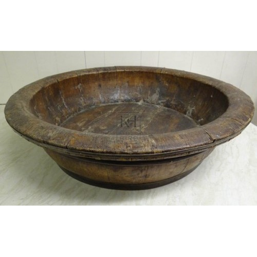 Very large shallow wood bowl