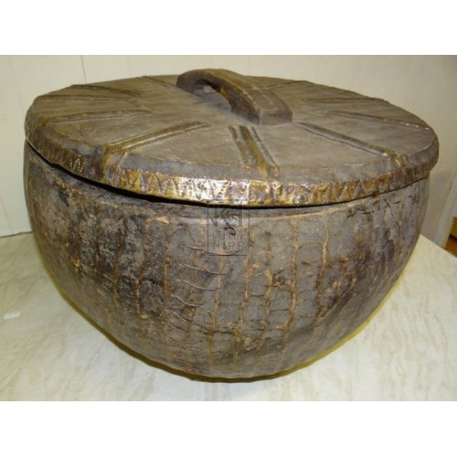 Very large wood bowl with lid