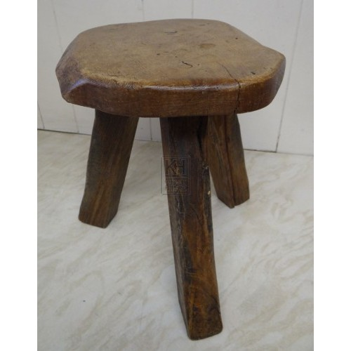 Shaped wood 3-leg stool