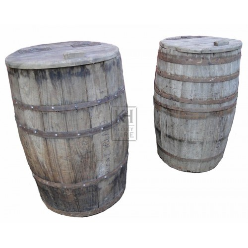 Wood storage barrels with lids