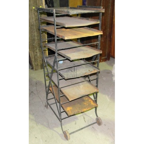 Metal shelving on wheels