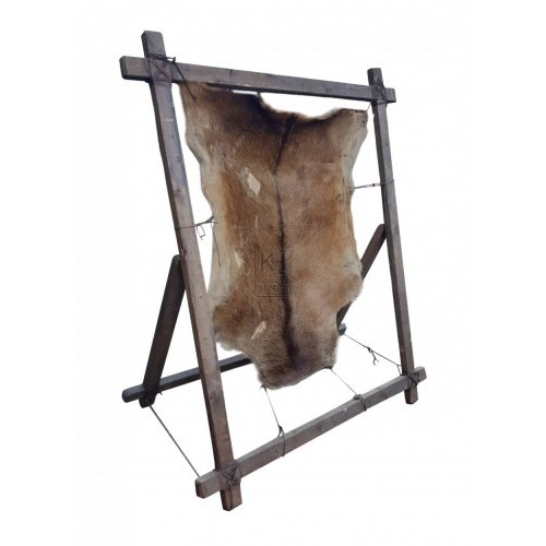 Large animal skin on rack