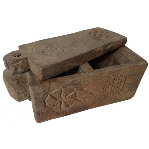 Small carved wood spice box