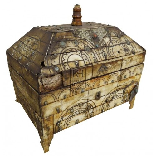 Ornate bone & silver shaped chest