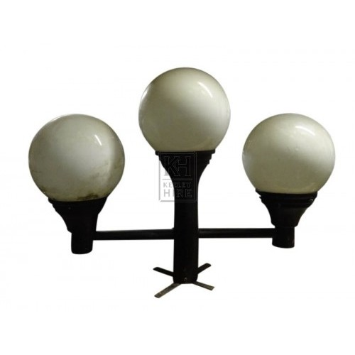 Triple globe tops on short pedestal