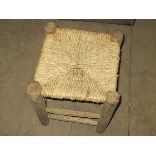 Small Woven Straw Stool