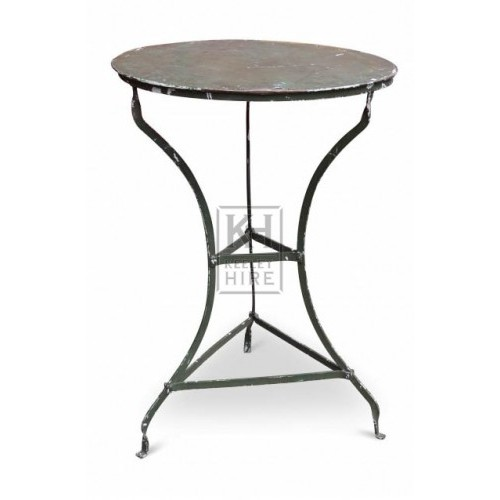 Round green metal cafe table