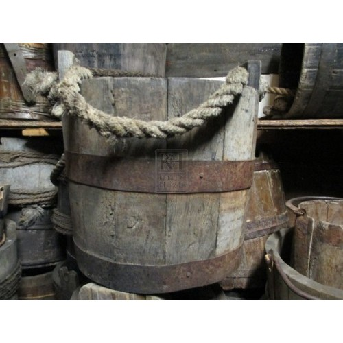 Wooden Bucket with Iron Brands
